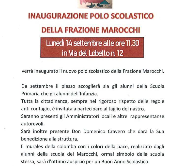 INAUGURAZIONE POLO SCOLASTICO FRAZIONE MAROCCHI- 14/09/2020